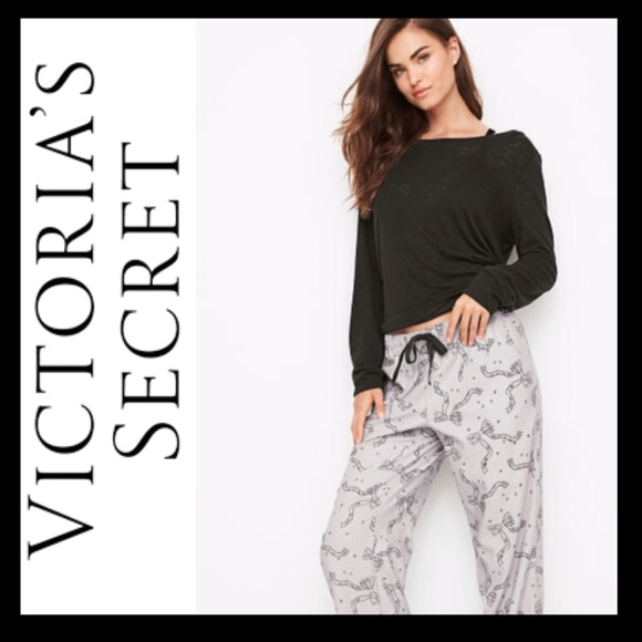 VICTORIA S SECRET The Lounge PJ Set Black   Grey! c2c70f648